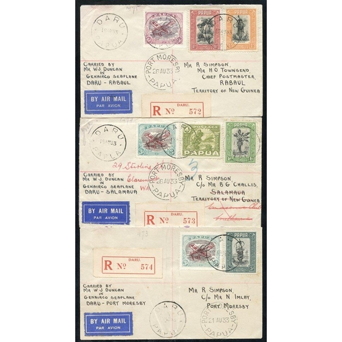 1294 - 1933 (Aug 19) Daru-Port Moresby flown covers (2), 1933 (Aug 26) Port-Moresby-Rabaul flown covers (3,...