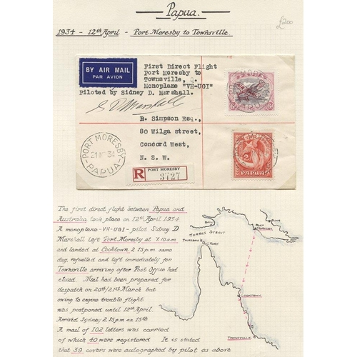 1295 - 1934 (Apr 12) Port Moresby-Australia, registered flown cover by the pilot Sydney Marahall and signed...