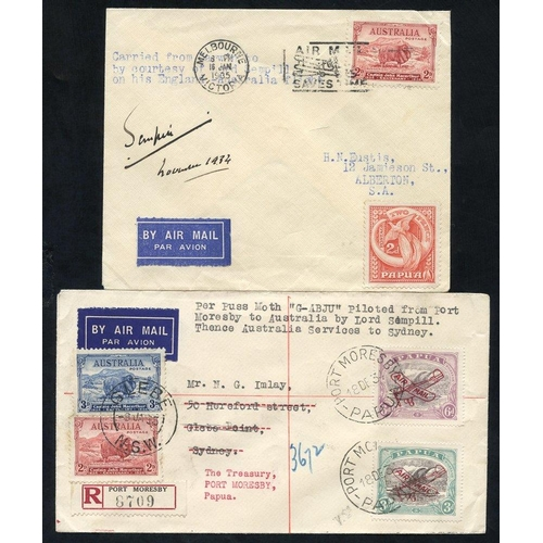 1296 - 1934 (Dec 19) Port Moresby-Cairns and thence to Sydney, flown registered cover by Lord Sempill, also...