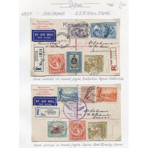 1297 - 1934 (July/Aug) Australia-Papua-Australia four flown special cards, registered with usual cachets an...