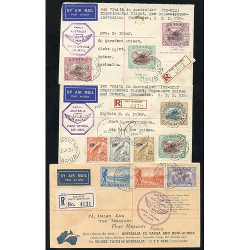 1299 - 1934 (July/Aug) Australia-Papua-Australia flown covers (2), New Guinea-Papua-Australia (3), all regi...