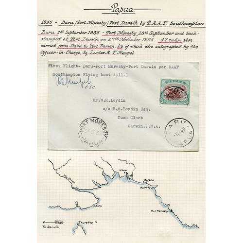 1300 - 1934 (Sep. 1) Daru-Port Moresby flown cover (pilot signed). Port-Moresby-Darwin flown covers (4), tw...
