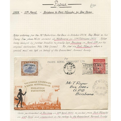 1301 - 1935 (Apr 11) Brisbane-Port Moresby flown cover from the Queensland Airmail Society, fine. (50 flown...