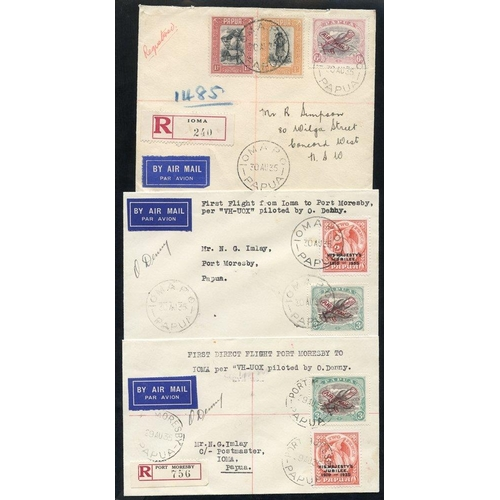 1302 - 1935 (Aug 30) Port Moresby-Ioma and return flown covers, both signed by the Pilot Orme Denny, also I...