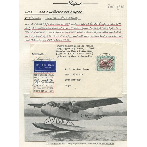 1303 - 1935 (Aug 31) Daru-Oroville flown covers, both signed by the pilot, 1935 (Oct 23) Oroville-Port More...