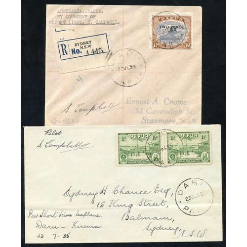 1304 - 1935 (July 22) Australia-Oaoua flown cover signed by the pilot (one of twelve flown) and 1935 (July ...