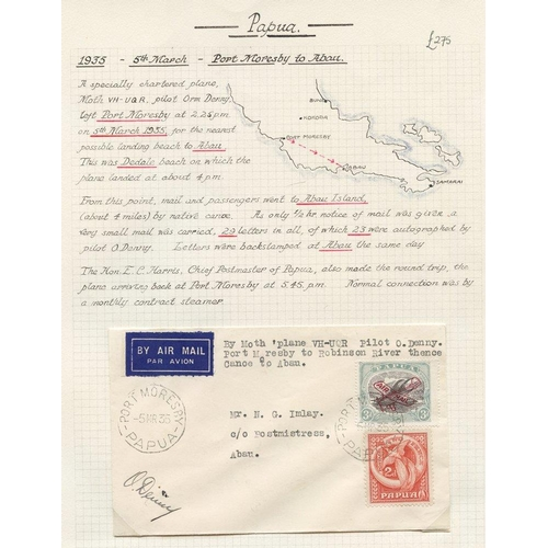 1305 - 1935 (Mar 5) Port Moresby-Abau flown, cover, flown to Robinson river, thence by canoe to Abau, signe...