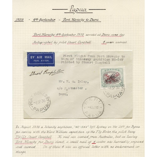 1307 - 1936 (Sept 4) Port-Moresby-Daru flown cover signed by the pilot S. Campbell, one of only four known....