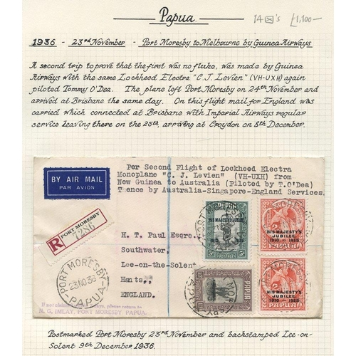 1308 - 1936-39,a  selection of flown covers, written up on leaves incl. 1936 (Oct 29) Papua-Melbourne flown...
