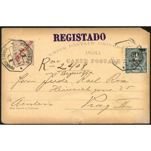 1320 - ANGOLA 1912 reg 20r violet postal stationery card uprated with 50 on 65r blue, tied Bengnella octago...