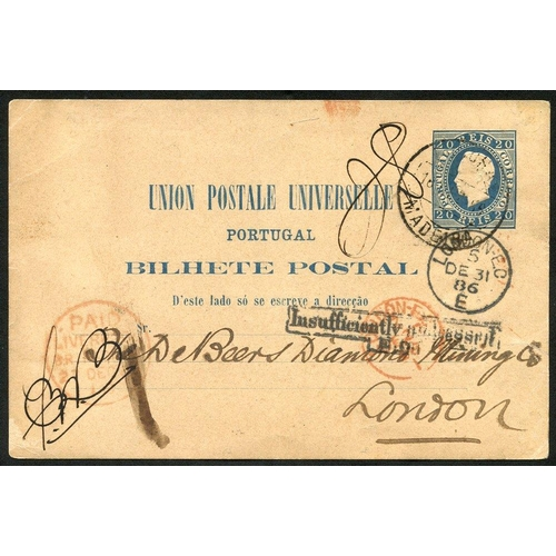 1321 - FUNCHAL 1886 postal stationery card 20r blue, cancelled by Funchal/Madeira d/stamp addressed to Lond...