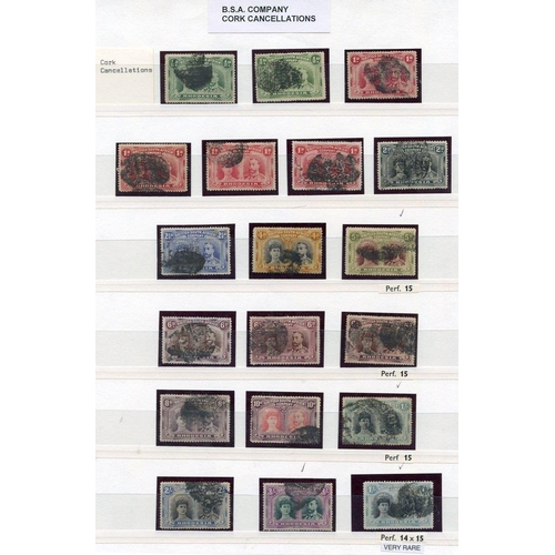 1322 - CORKS & UNIDENTIFIED CANCELLATIONS selection (19) on ½d (2), 1d (4), 2d, 2½d, 4d, 5d Perf 15, 6d (3)...