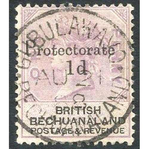 1324 - 1888 Aug 21st GUBULAWAYO/BECHUANALAND full strike on Bechuanaland 1888 1d on 1d lilac & black (SG.41...