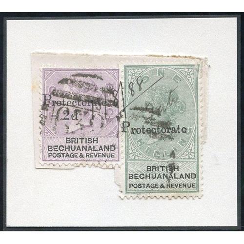 1325 - 1888 Bechuanaland 2d on 2d lilac & black (SG.42) and 1s green & black fault at upper right corner (S...