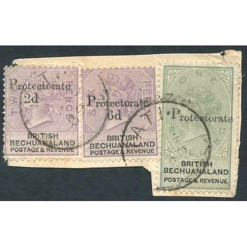1326 - 1888 Bechuanaland 2d on 2d, 6d on 6d & 1s SG.42,45,46 tied to piece by single ring Tati c.d.s for Ja...