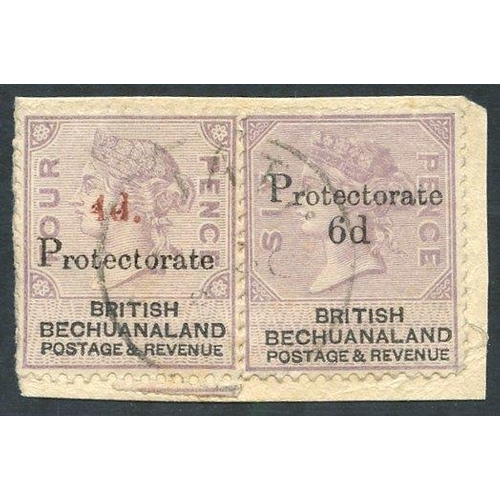 1328 - 1888 Bechuanaland 4d on 4d lilac & black (SG.44) & 6d on 6d lilac & black (SG.45) together on a smal...