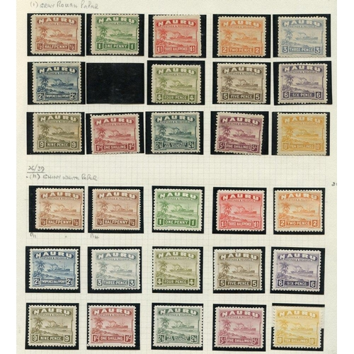 133 - NAURU, NIUE, ROSS, TOKELAU M & U collection on leaves incl. Nauru (214) 1924-48 Defin greyish paper ...