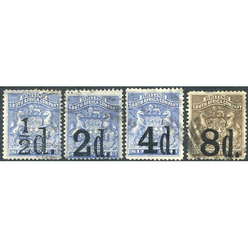 1330 - 1892 Provisional Surcharge set with (part) cancels depicting correct usage, ½d & 2d about fine, 4d m...