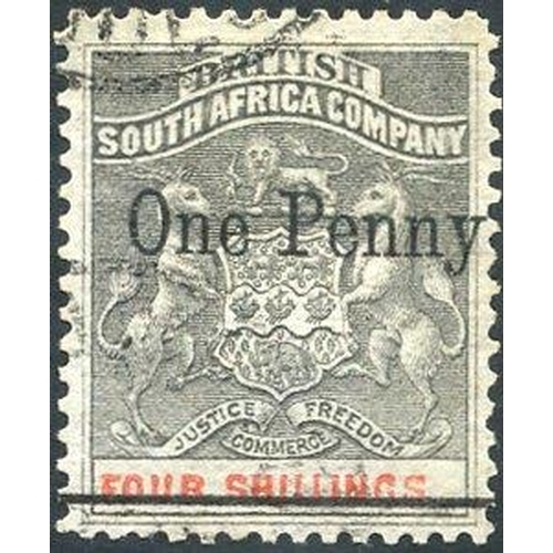 1339 - 1896 BYO Provs 1d on 4s with single bar through original value, SG.52c. (1) Cat. £1200....