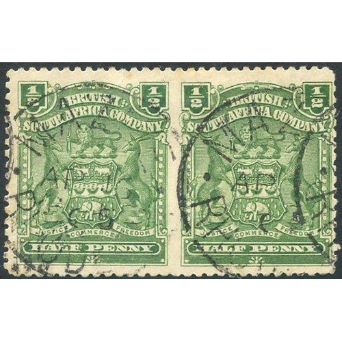 1344 - 1898-1908 ½d dull bluish green FU, MAZOE horizontal pair IMPERF BETWEEN SG.75aa (minute thin 1st sta...