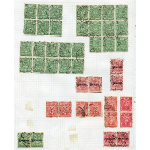 1347 - 1898-1920 multiples U on leaves incl. 1898 ½d blocks of 6, 10 & 11, cancelled KILLARNEY MINZ (double...