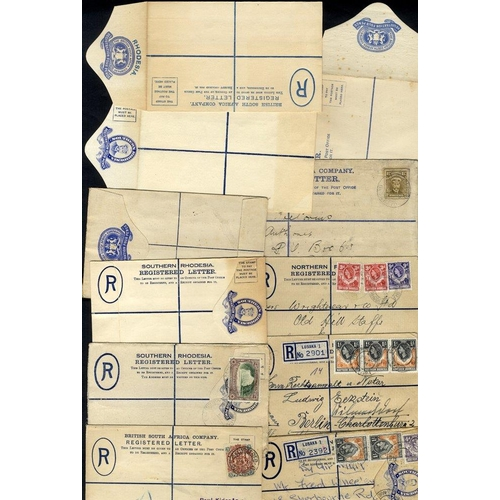 1348 - Northern & Southern Rhodesia 20thC group of registered envelopes used & unused with 1904 B.S.A beari...