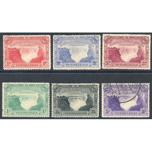 1349 - 1905 Victoria Falls set 1d to 2/6d M, 5s VFU (odd perf fault), SG.94/9. (5) Cat. £285...