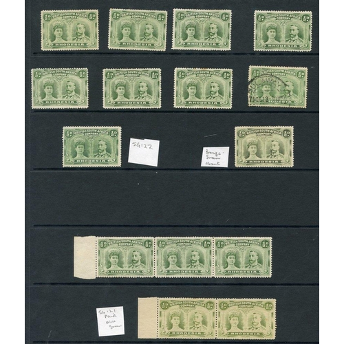 1354 - 1910-13 ½d double heads M range of 14 stamps incl. SG.122 & one stated to be bronze-green, also left...