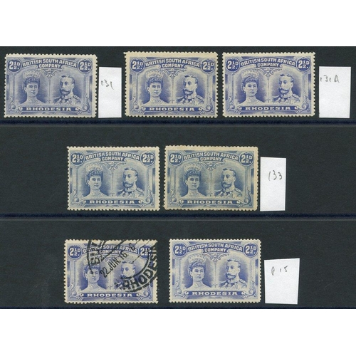 1356 - 1910-13 2½d Double Heads, M (6) & U (1) incl. one Perf 15, fine M. (7) Cat. £238....