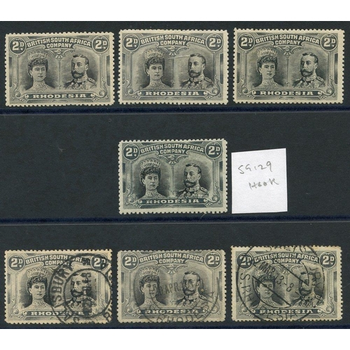 1357 - 1910-13 2d Double Heads, small group comprising SG.128 (3) & SG.129 M plus 3 used examples. (7)...