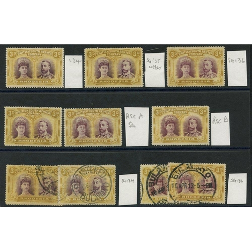 1359 - 1910-13 3d Double Heads selection of 10 incl. SG.134,135 & 136 M, RSC 'A' x2 M, RSC 'B' & 4 examples...