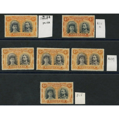 1361 - 1910-13 4d Double Heads, M shades (6) incl. SG.138, 139 (3), RSC 'C' & Perf 15 (RSC 'C'), mainly fin...