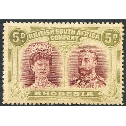 1363 - 1910-13 5d lake brown & olive P.15, M re-gummed, SG.175. (1) Cat. £800...