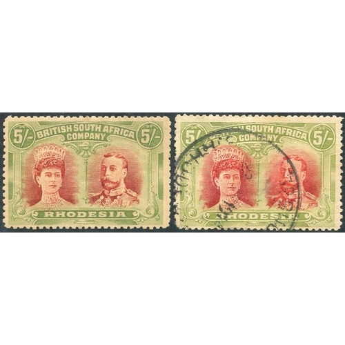 1364 - 1910-13 5s crimson & yellow-green, fine M, another FU but thinned, SG.160a. (2) Cat. £500...