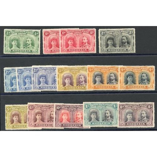 1367 - 1910-13 Double Heads P.14 ½d, 1d (2), 2d, 2½d (3), 3d, 4d, 5d, 6d, 10d & 1s, also P.15 4d, P.13½ 8d,...