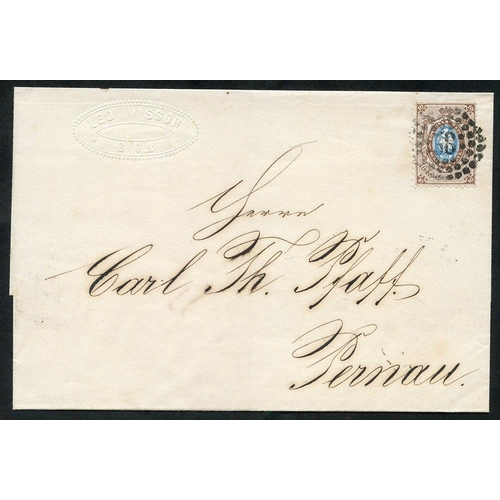 1389 - 1861 Outer letter sheet bearing 1858 10k blue & brown with superb numeral '38' in three concentric c...