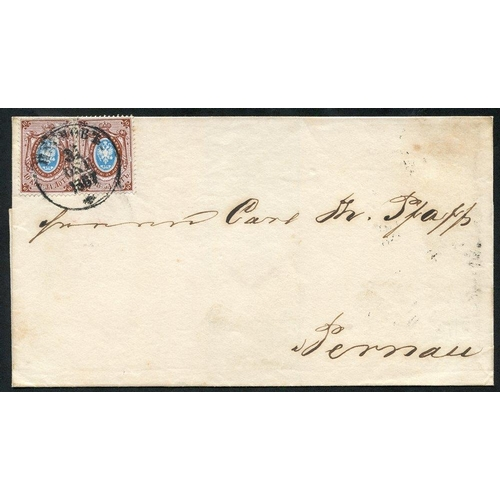 1392 - 1867 (Oct) Outer letter sheet bearing a pair of 1864-65 10k blue & red-brown with Riga c.d.s. & b/st...