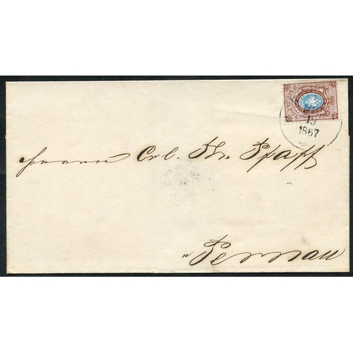 1393 - 1867 Outer letter sheet to Pernau (b/stamp arrival d/stamp Mar 10) bearing 1864-65 Perf 14½ x15 10k ...