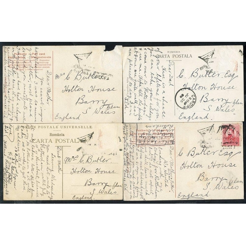 1394 - 1909 postcards (4) to England from same correspondence, one with 10b defin & cancelled Sulina Tulea ...