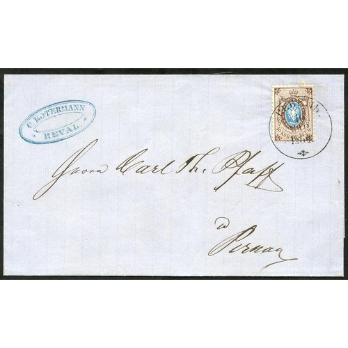 1403 - 1964 Outer letter sheet bearing 1858 10k blue & brown, cancelled Reval d/stamp (firm's h/stamp at le...