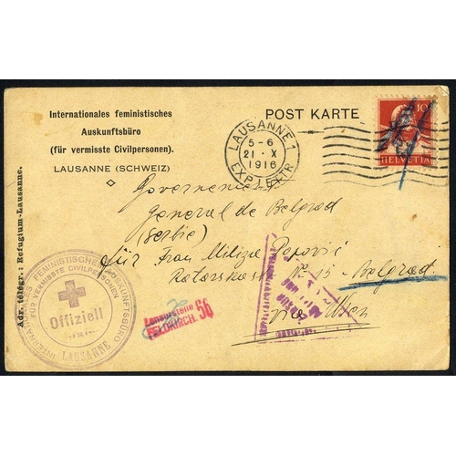 1410 - 1911 Court receipt bearing official h/stamp of Donji Milanovac, 1916 Missing Civilian's Bureau - Lau...