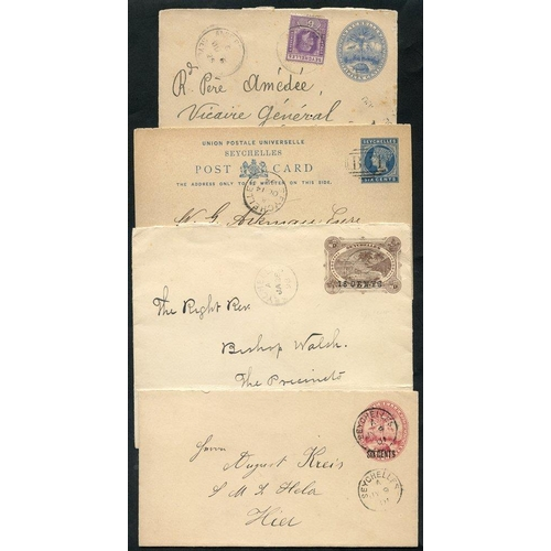 1412 - 1894 QV 6c complete reply card cancelled B64, 1898 18/30c & 1901 6/8c postal stationery cards - both...