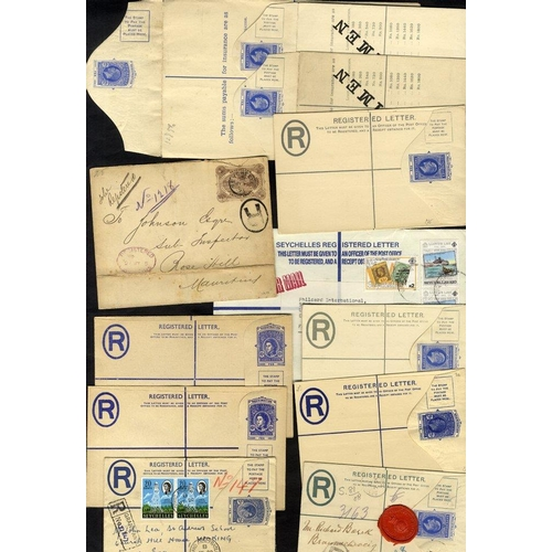 1413 - 1895-1990 range of reg covers with 1985 30c stationery envelope to Mauritius, cancelled Seychelles c...