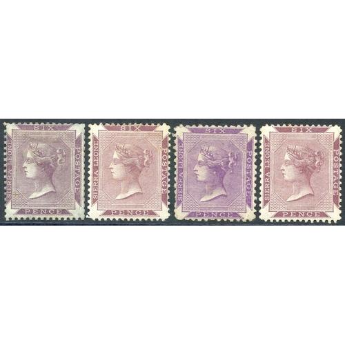 1424 - 1859-74 no wmk 6d dull purple, 6d grey-lilac, 6d reddish violet (Perf 12½) & 6d reddish lilac, the c...