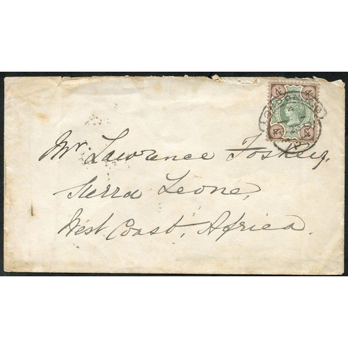 1428 - 1891 (23 Feb) env from London to Sierra Leone, bearing 1887 4d tied by hooded d/stamp & showing, on ...