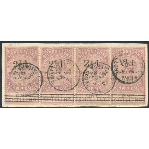 1429 - 1897 2½d on 1s dull lilac horizontal strip of four on piece showing Types 10+10+8+11. FU, each cance...