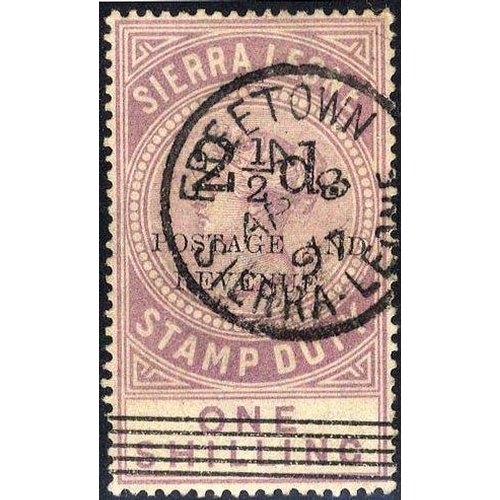 1431 - 1897 2½d Surcharge (Type 13) & 5 thin bars, with opt Type 14 on fiscal 1s dull lilac, VFU with Freet...