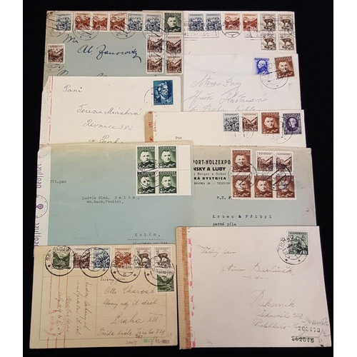 1447 - 1940-44 group of covers etc, most to Prague with German censorship, uncommon item to USA, official c...