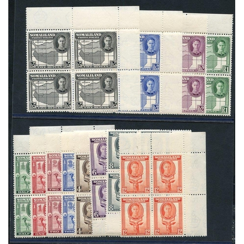 1464 - 1942 Defin set in UM corner marginal blocks of four, SG.105/116. (48) Cat. £192...