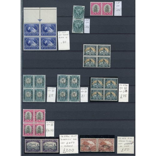 1474 - Collection on four double sided stock leaves with 1930-44 4d inverted wmk M, 1933 Fund M & set FU, S...